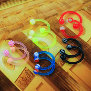 10x-16G-Arcylic-Horseshoe-Barbell-Labret-Nose-Lip-Eyebrow-Ear-Ring-MA