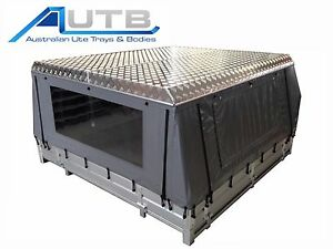 Image is loading Aluminium-Ute-Canvas-Canopy -Hard-Roof-Checkerplate-complete-  sc 1 st  eBay & Aluminium Ute Canvas Canopy Hard Roof Checkerplate complete with 4 ...