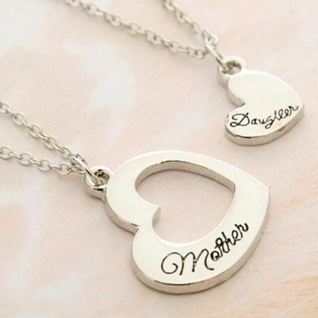 1 Set Silver Puzzle Mother Daughter Pendant Necklace Women Party Heart Cute
