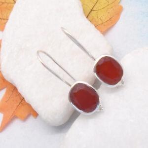 Karneol-rot-braun-oval-Design-Ohrringe-Haenger-Ohrhaenger-925-Sterling-Silber-neu
