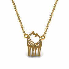 Giraffe Animal Pendant Kid's Jewelry Set in Solid 18k Yellow Gold Without Chain