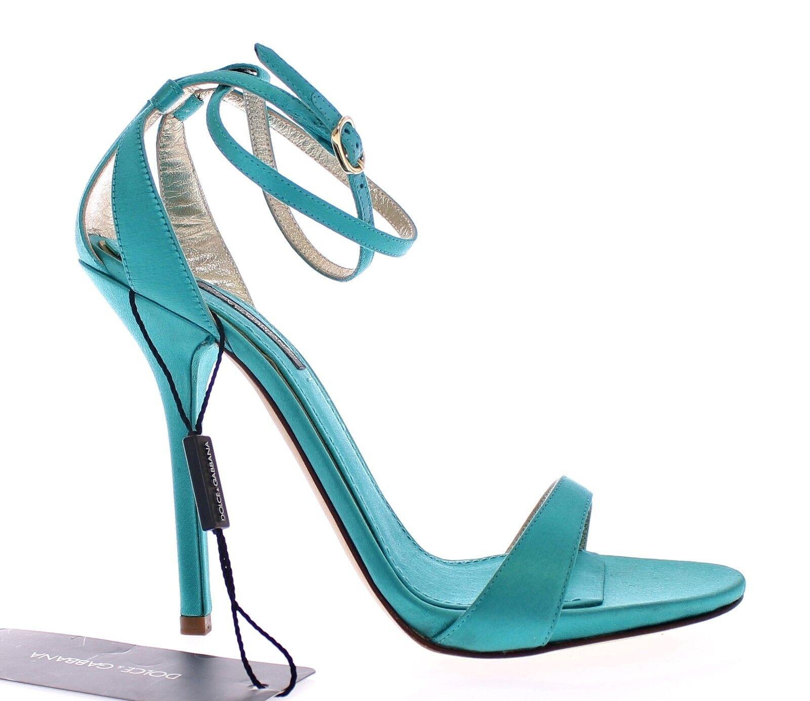 NEW  680 DOLCE & GABBANA Blue Blue GABBANA Silk Ankle Strap Sandals Heels Shoes EU40 / US9.5 28e503