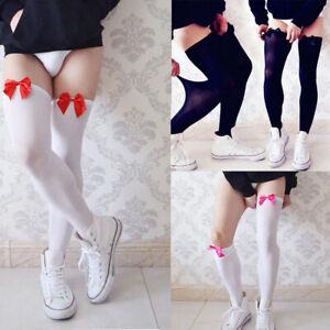 Men-Thigh-long-Sexy-high-Lingerie-Sissy-Stockings-Club-wear-Ribbon-Knee-Socks