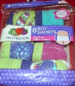 62f5b5c11 Girls size 4 Fruit of the Loom Boy Shorts 8 Pack Panties Underwear ...