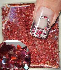 FLITTER FOIL FLAKES rot red Nail-Art Glitter für Fingernägel/Fußnägel Nailart
