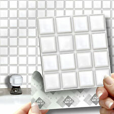 18 Stick & Go White Stick On Wall Tiles for Kitchens & Bathrooms, Self Adhesive