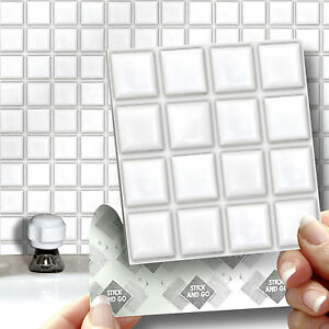 18 White Mosaic Stick On Self Adhesive Wall Tile Stickers For