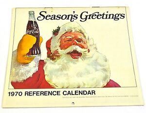 Beau Age Coca-Cola Calendrier 1970 USA Coke Calendrier Santa
