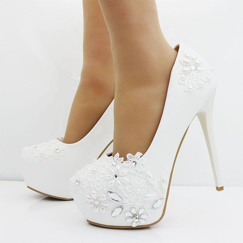 Womens Stiletto shoes Rhinestone Platform Pumps High Heels Wedding Court shoes @