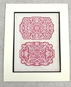 1859 Stampa Arabesque Architettura Decorativa Gesso Soffitto Antico Originale