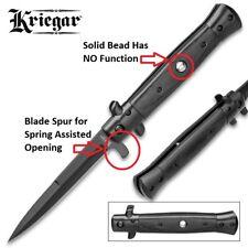 Kriegar Blackout Stiletto Assisted Opening Liner Lock Folding Knife - Black  NEW