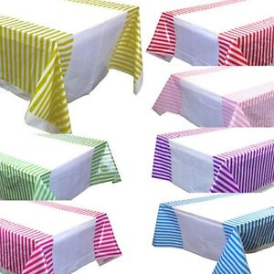 Image is loading Striped-Plastic-Table-Cover-Disposable-Party-Tablecloth- Covers-  sc 1 st  eBay & Striped Plastic Table Cover Disposable Party Tablecloth Covers ...