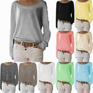 Women-039-s-Plain-Long-Sleeve-T-Shirt-Blouse-Ladies-Casual-Loose-Tops-Tee-Shirts