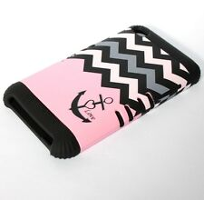 iPod Touch 4th Gen - HARD&SOFT RUBBER HYBRID SKIN CASE PINK BLACK ANCHOR CHEVRON