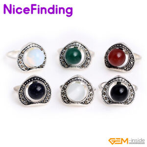 Tibetan Silver Rivet Heart Gemstone Reiki Protection Ring Jewelry Gift Women Men