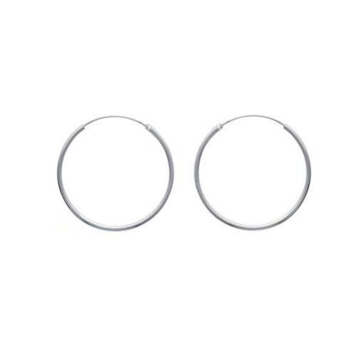 Boucles D/'Oreilles Créoles CLASSIQUE 4 cm  Fil MOYEN 2mm en ARGENT Massif NEUF