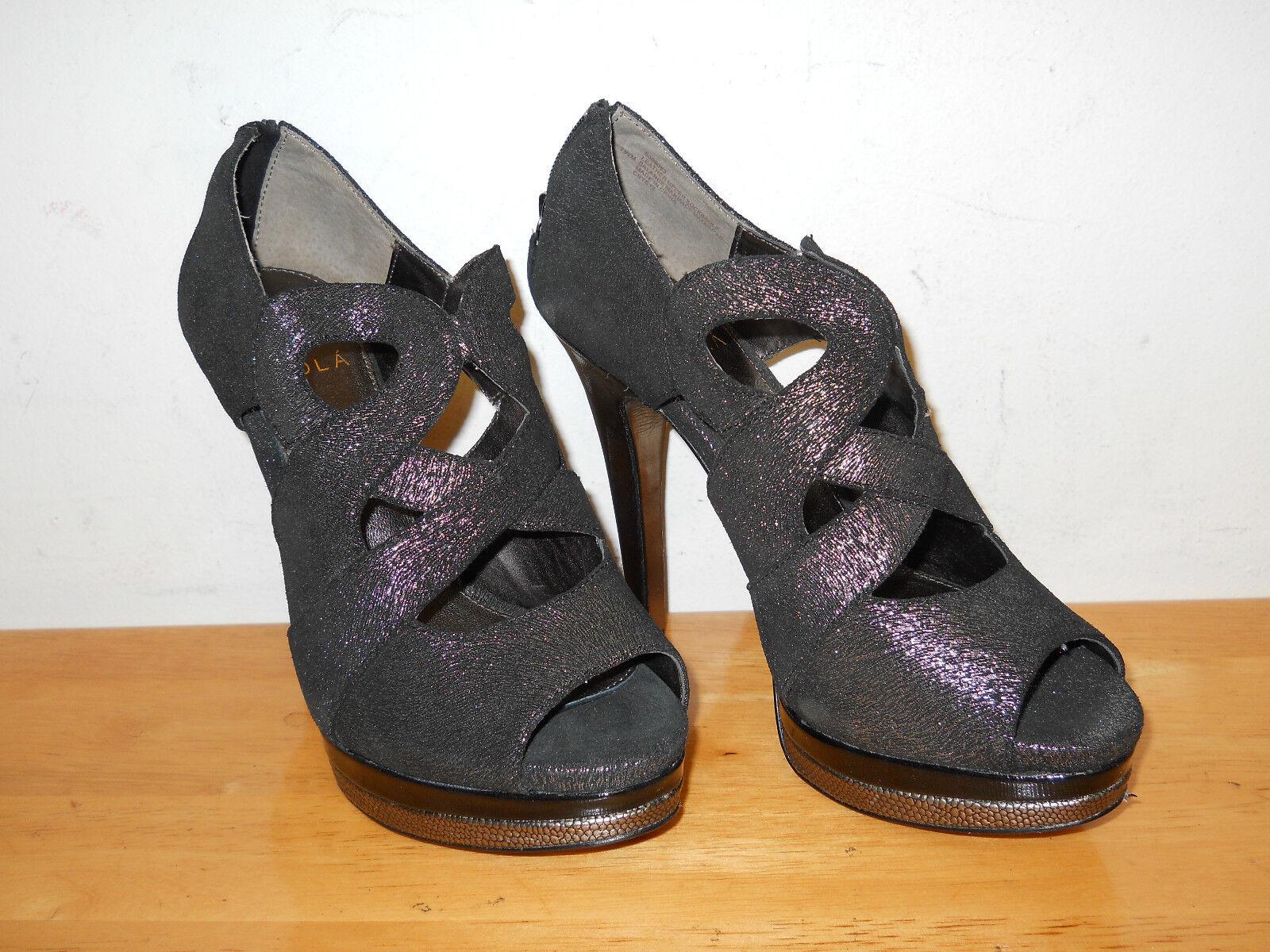 Isola nuevo para mujer C Bye12 Plata Negro Zapatos Puntera Puntera Puntera abierta Tacones 7.5 M Nuevo Sin Caja  directo de fábrica