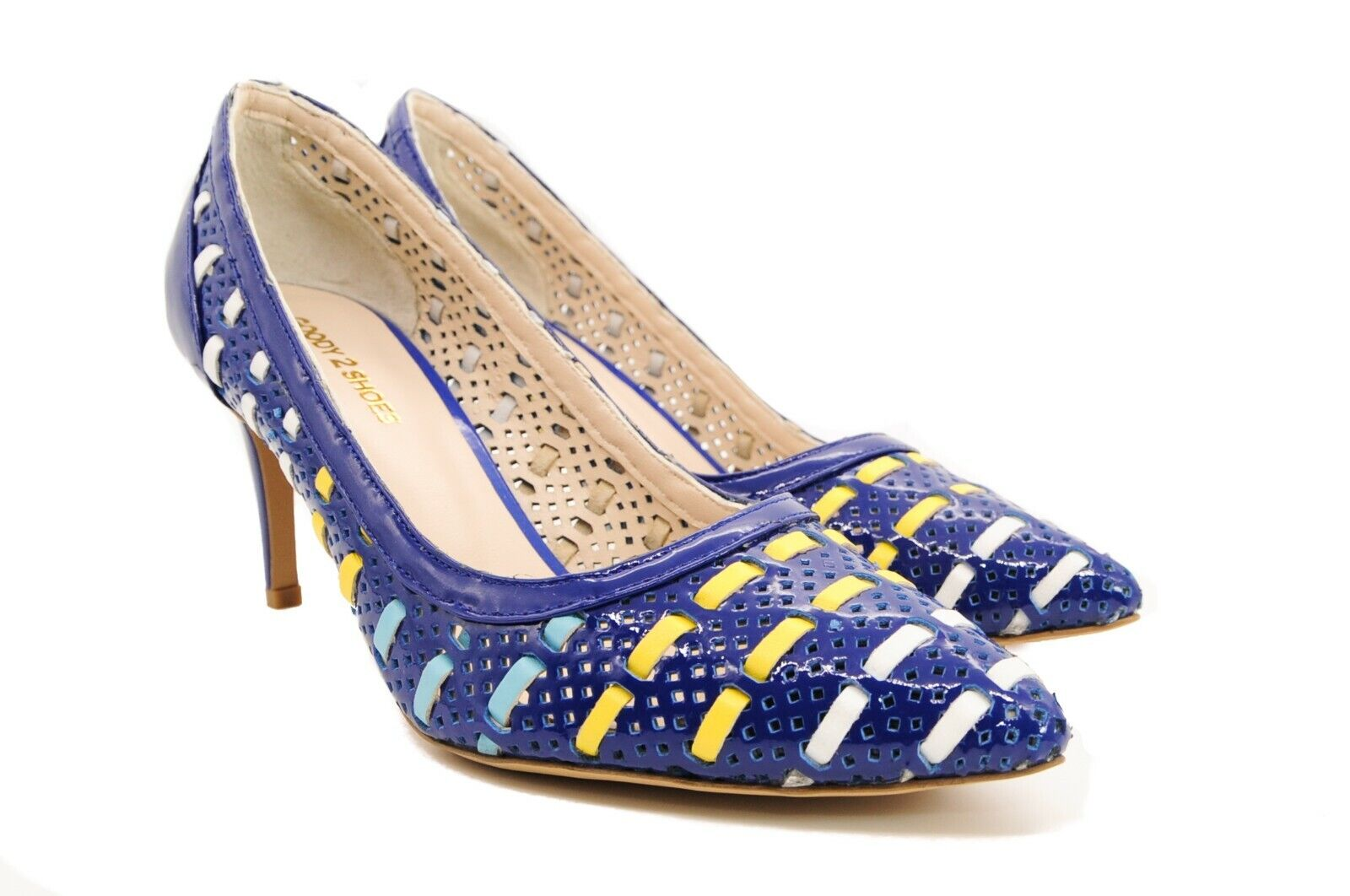 Goody2shoes Ladies' Patent Leather Court shoes bluee Mesh Stripe and High Heels