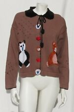 STORYBOOK KNITS Brown Black Chenille Teddy Panda Bear Cardigan Sweater size S M