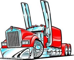 Kenworth Big Rig Semi Truck Cartoon 3 Sizes Decal Wall