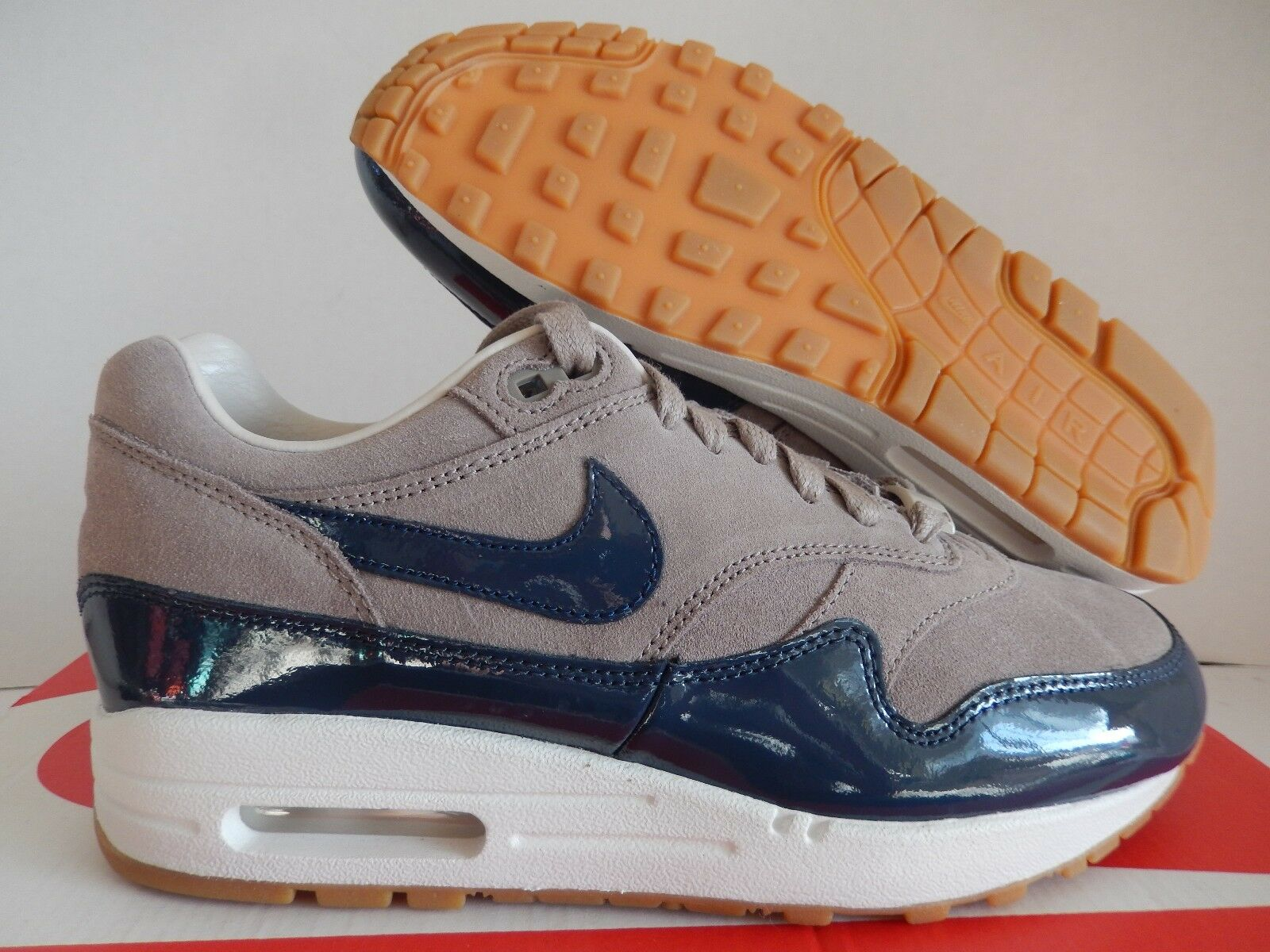 WMNS NIKE AIR MAX 1 ID BROWN-blueE SZ 7