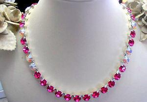 Fuchsia/White Opal AB, Swarovski Crystal Necklace Anna Wintour Cupchain Choker