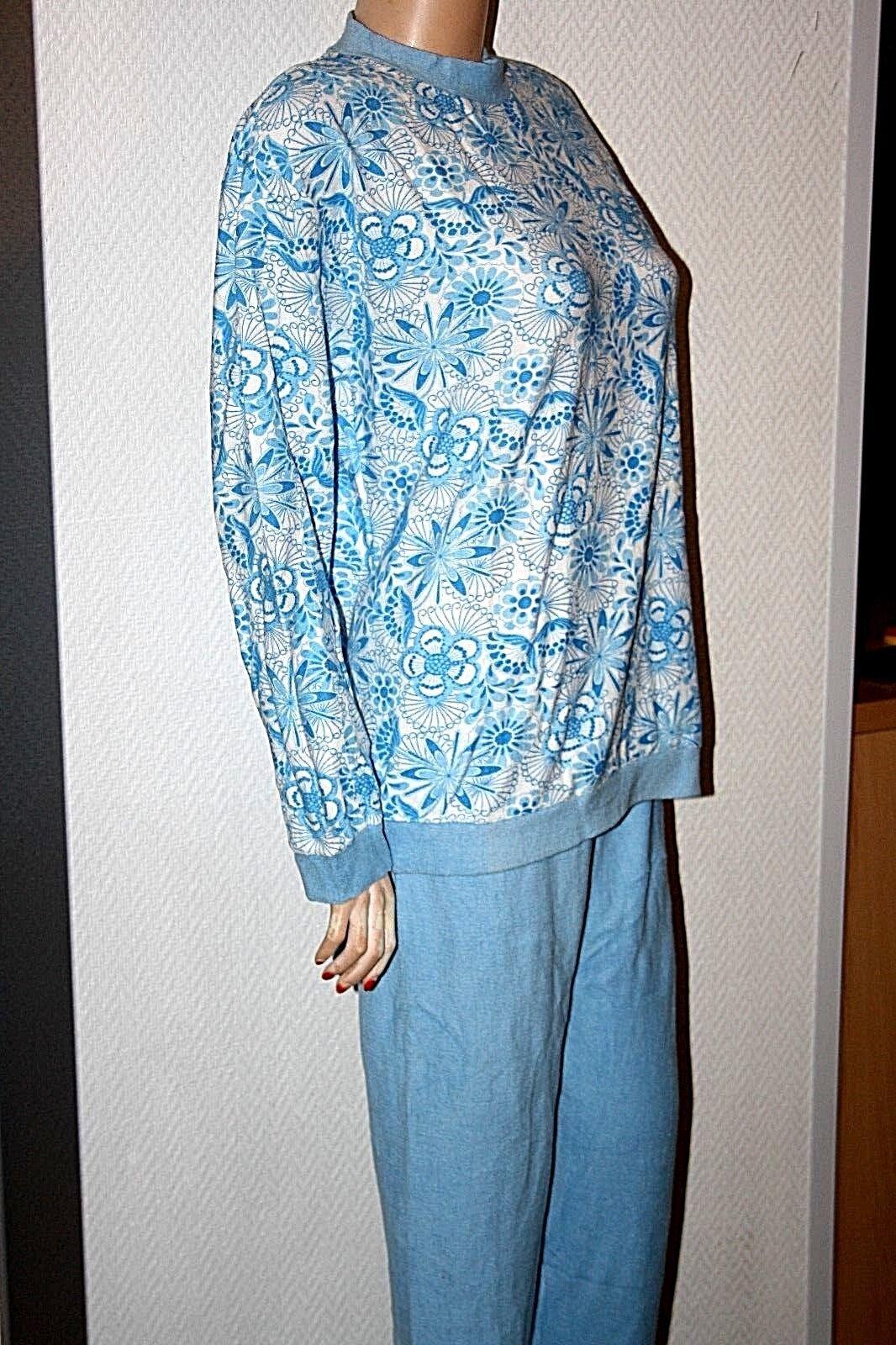 Original 70er Ans éponge stretch pyjama pyama Set Taille Vintage 48 Bleu Vintage Taille fb21d8