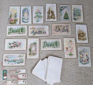 Lot-16-Unused-Vintage-Mid-Century-Christmas-Cards-amp-Tags-Art-Scrapbook-Ephemera