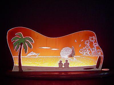 3D LED Lichterbogen Plexiglas Schwibbogen mit Holz Südsee Palme 47x20 cm 10703