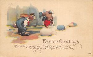 Easter-Greetings-1924-Fantasy-Postcard-Dressed-Bunnies-Playing-with-Colored-Eggs
