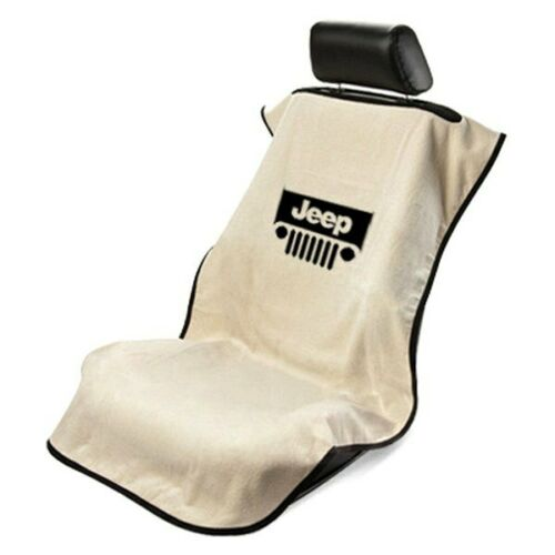 Seat Armour Front Car Seat Cover For Jeep with Grille Tan Terry Cloth