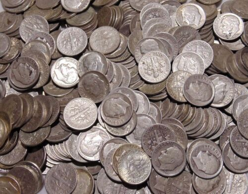 1 Roll 50 Coins 90/% Silver Roosevelt Dimes 1946-1964 Circulated $5.00 Face Value