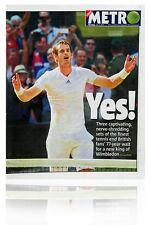 Andy Murray Wimbledon 2013 Final Historic Metro Newspaper London 08.07.13 Mint