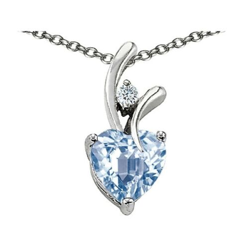 7MM OR 9MM HEART SHAPE AQUAMARINE PENDANT SOLID 14K YELLOW OR WHITE GOLD SETTING