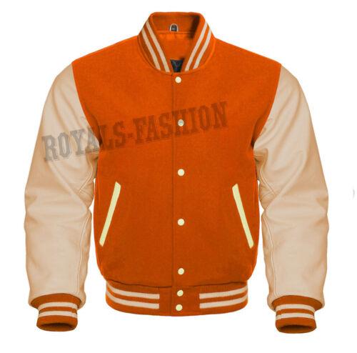 cuero naranja lana crema y Varsity genuino de Letterman Baseball chaqueta de de color WPaf6