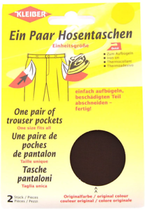 Kleiber Iron-On Replacement Trouser Pockets Brown