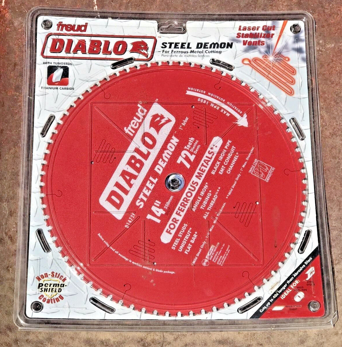 Freud, D1472F, Diablo 14  72T Steel Demon Ferrous Metals Circular Saw Blade, NEW