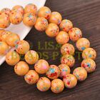 New 30pcs 10mm Round Loose Glass Spacer Beads Findings Yolk Yellow Blue Dots
