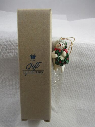 """1995 AVON GIFT COLLECTION SNOWMAN ICICLE ORNAMENT 6 1//2/"""" LONG"""