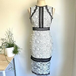 Forever-New-8-Theresa-Lace-Pencil-Dress-Black-White-Cocktail-Races-Garden-Party
