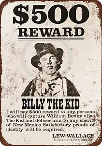 1878-Billy-the-Kid-Wanted-Poster-Vintage-Rustic-Retro-Metal-Sign-8-034-x-12-034