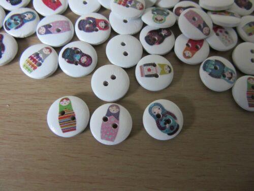 10 x botones madera diseño de muñeca rusa nuevo 15MM