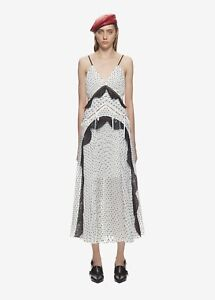b4ab14cda475 Image is loading NWT-Self-Portrait-white-plumetis-midi-dress-Size-