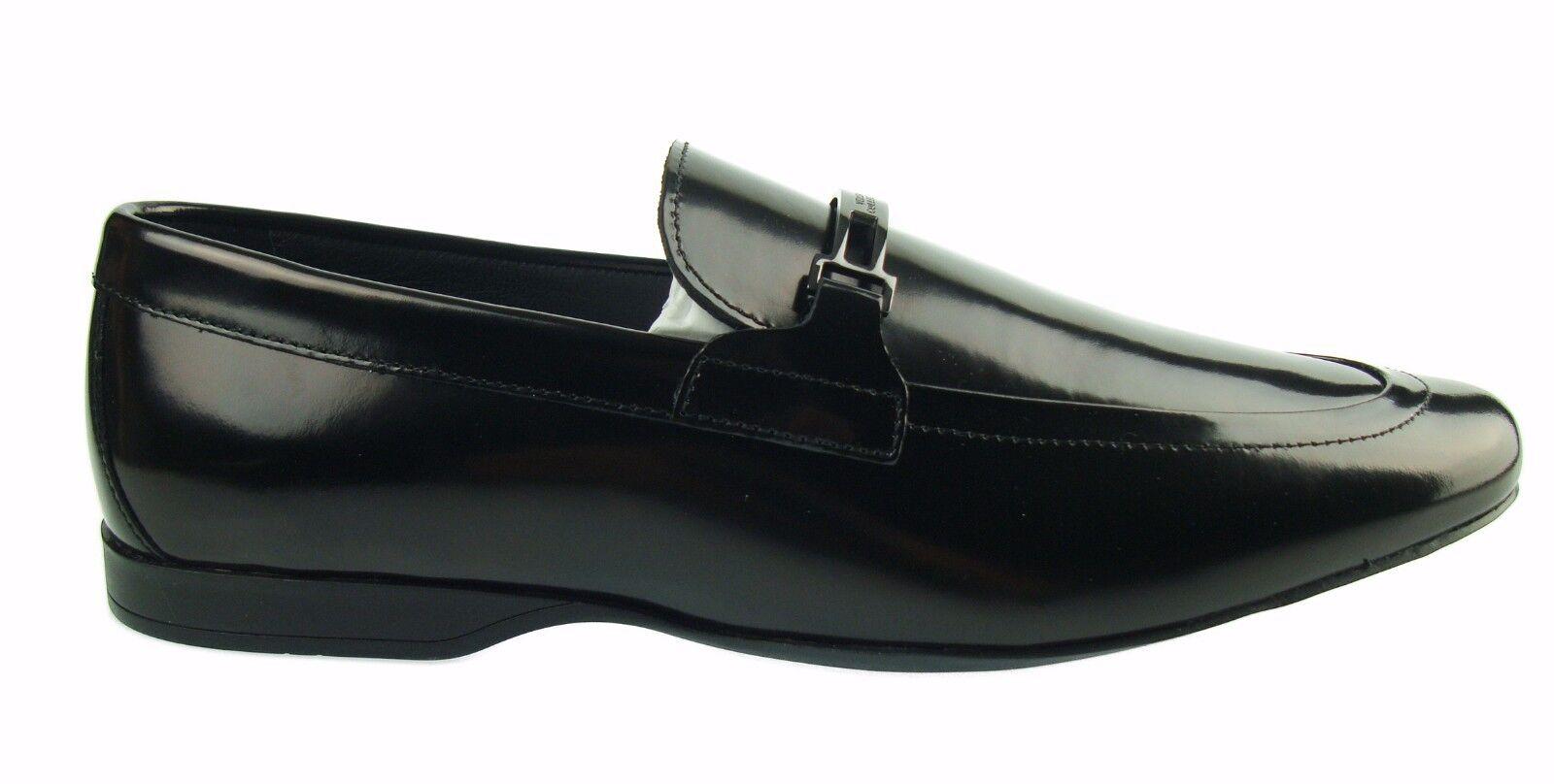 Versace COLLECTION Zapatos de Hombre de Cuero de Moda con logotipo Mocassins 100% Mocasines Aut.