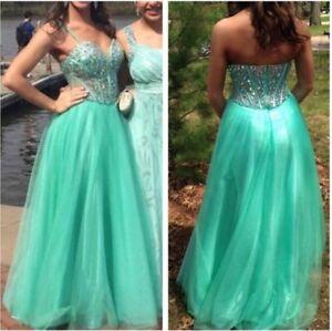 Prom Dress Mint Green Seafoam Jewel Formal Ball Gown Women Full