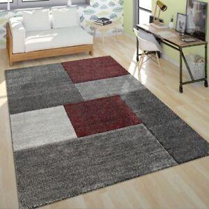 Poils-Ras-Tapis-Salon-Moderne-Design-Multicolore-Geometrique-A-Carreaux-Rouge