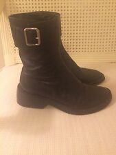 Auth ANN DEMEULEMEESTER Black Leather Short Buckle Boots 36