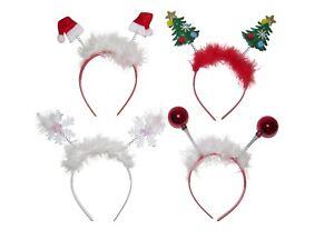 X12 CHRISTMAS BAUBLE TREE HAT SNOWFLAKE HEAD DEELEY BOPPERS HEADBAND PARTY BULK