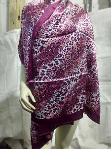 New-Animal-Pattern-Pashmina-Silk-Cashmere-Shawl-Scarf-Stole-Wrap-In-Pink-psr42