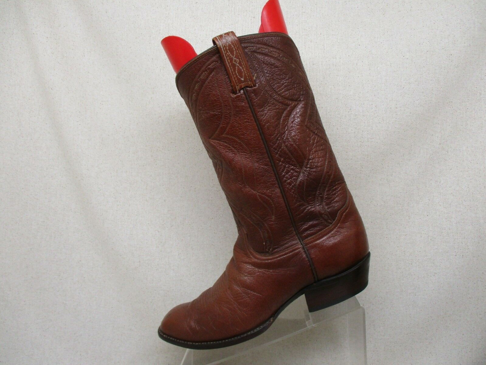 VTG El Rey Tony Lama Brown All Pelle Cowboy Boot Uomo Size 10 D Style 63602
